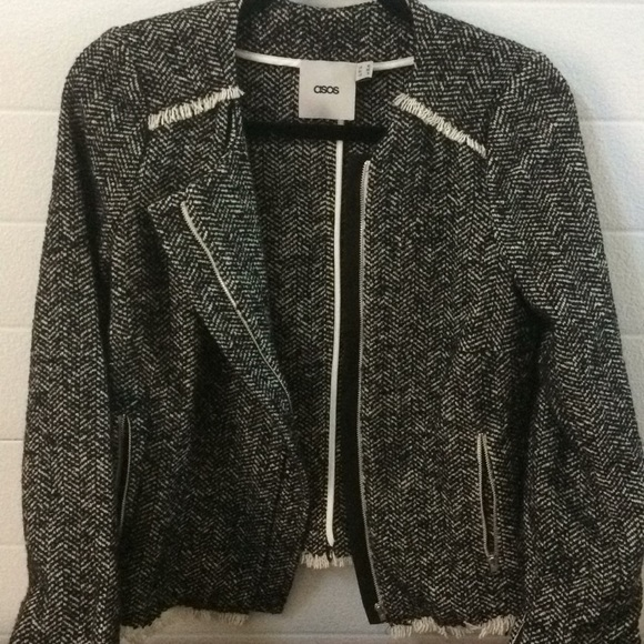 ASOS Jackets & Blazers - ASOS Black and Cream Tweed Jacket